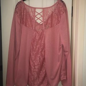 Gorgeous pink blouse with lace and accent